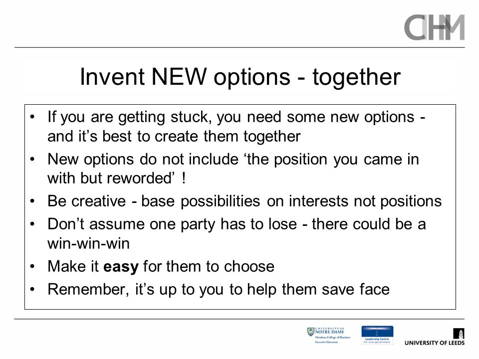 Invent NEW options - together