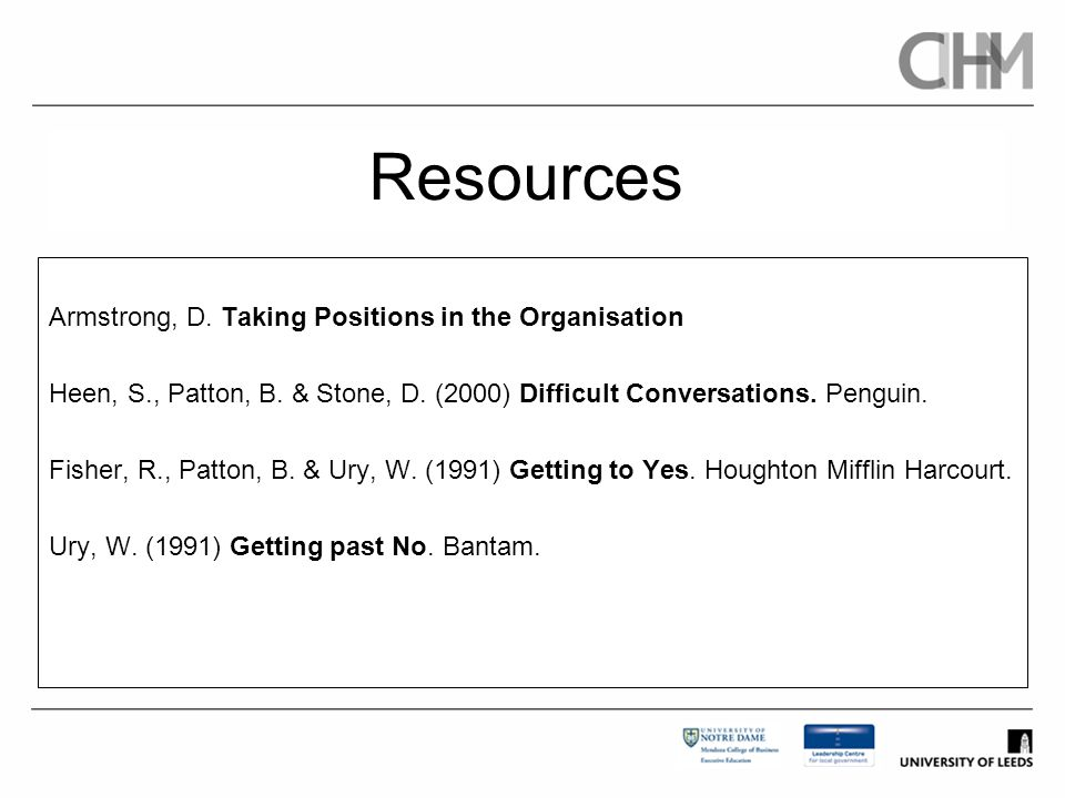 Resources Armstrong, D. Taking Positions in the Organisation