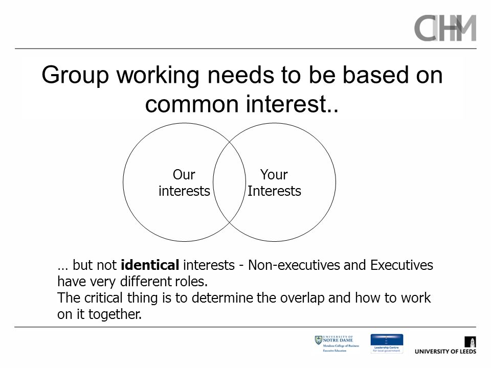 Group working needs to be based on common interest..