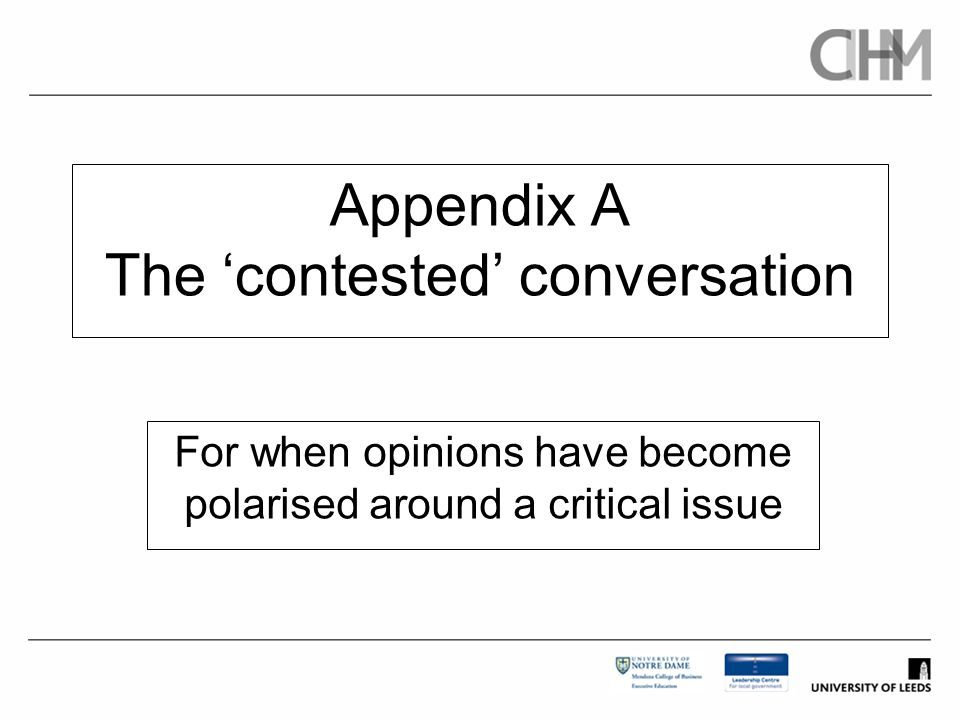 Appendix A The 'contested' conversation