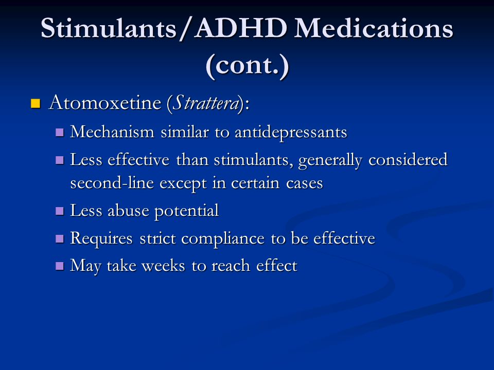 Stimulants/ADHD Medications (cont.)