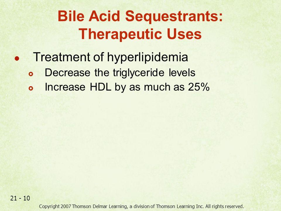 Bile Acid Sequestrants: Therapeutic Uses