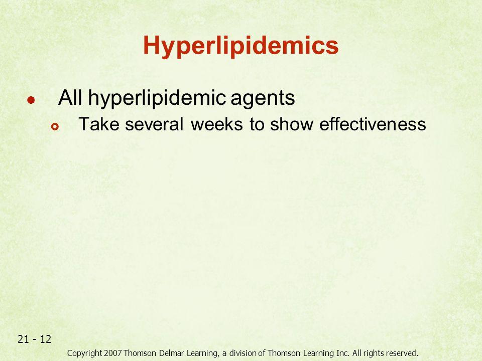 Hyperlipidemics All hyperlipidemic agents