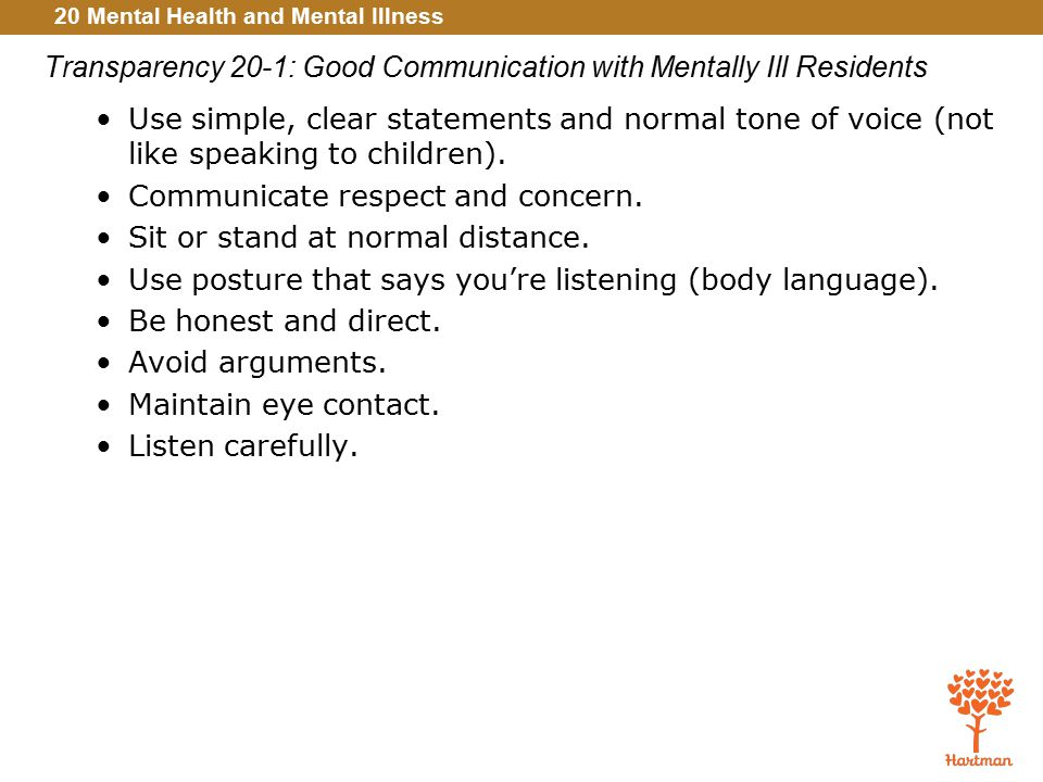 Transparency 20-1: Good Communication with Mentally Ill Residents