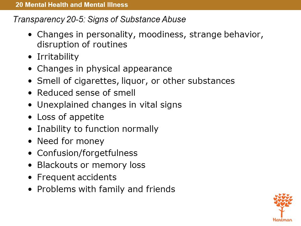 Transparency 20-5: Signs of Substance Abuse