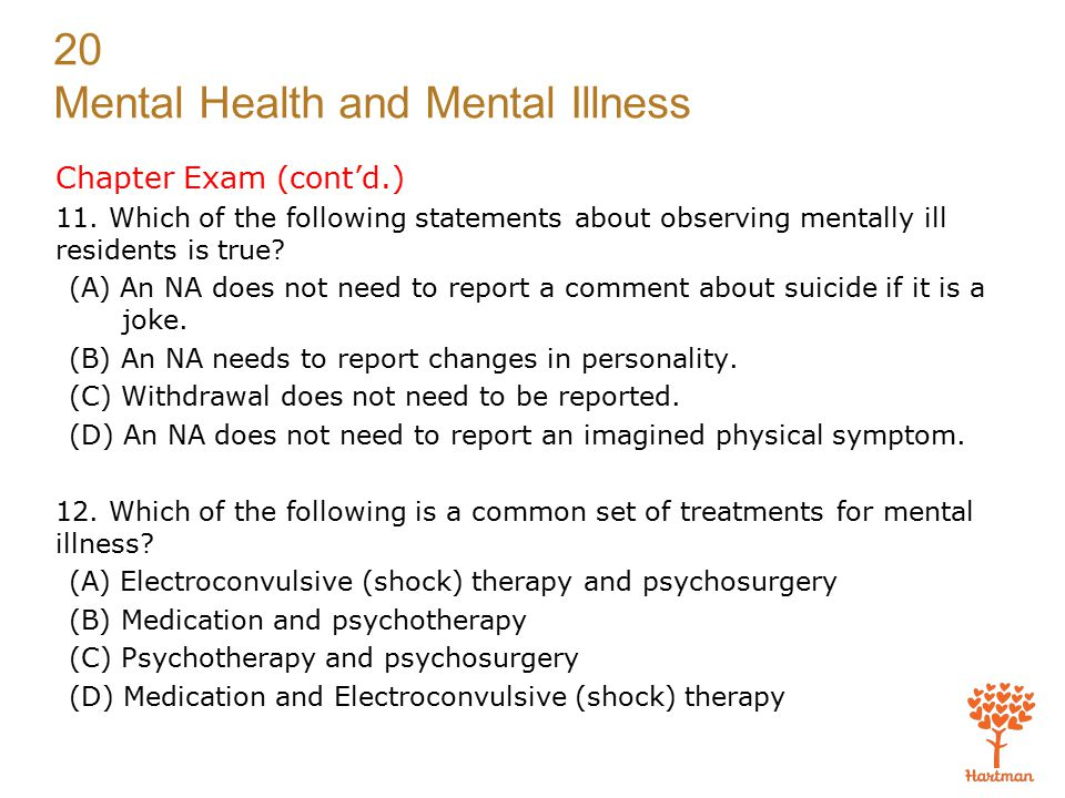 Chapter Exam (cont'd.) 11. Which of the following statements about observing mentally ill residents is true