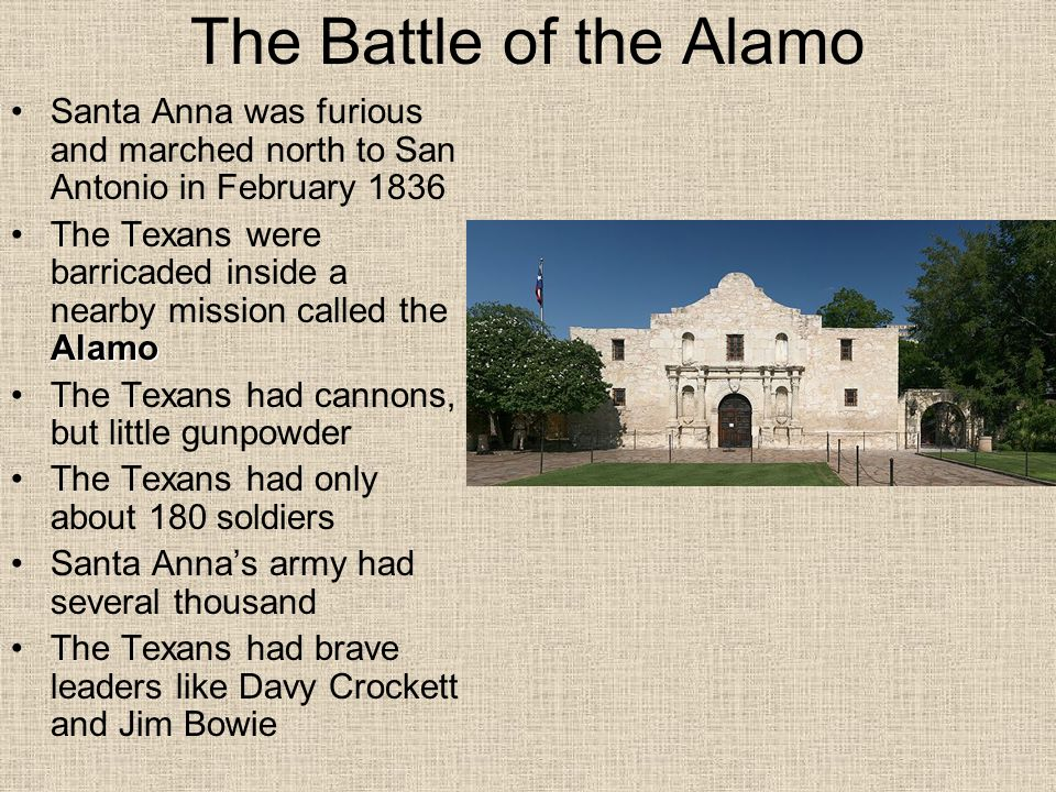 The Battle of the Alamo Santa Anna was furious and marched north to San Antonio in February 1836.