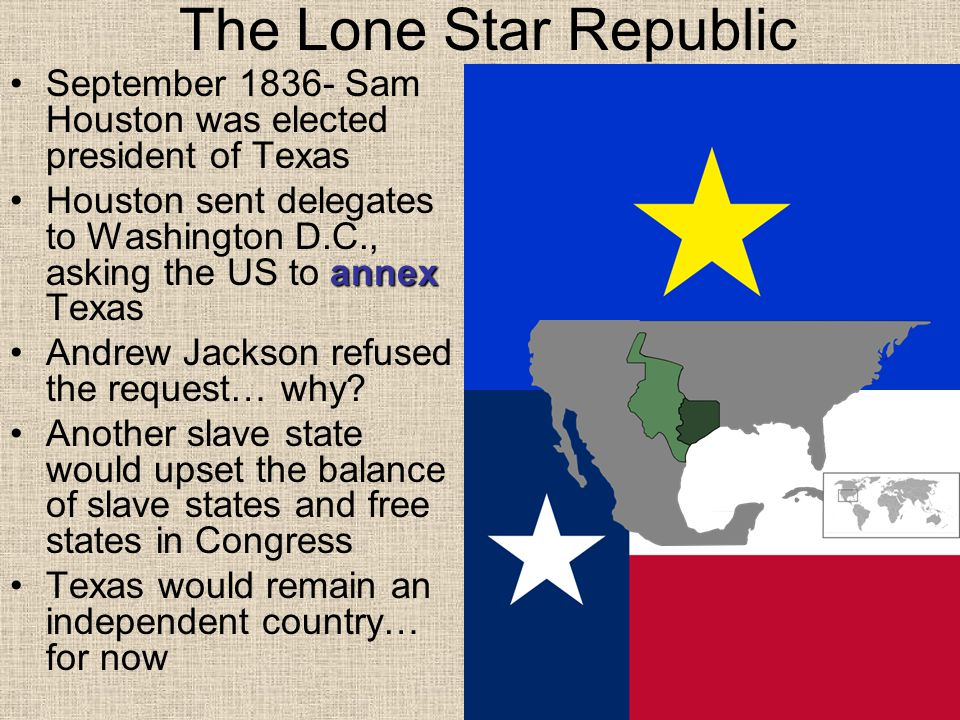 The Lone Star Republic September 1836- Sam Houston was elected president of Texas.