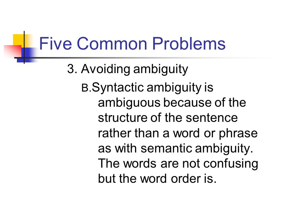 Five Common Problems 3. Avoiding ambiguity