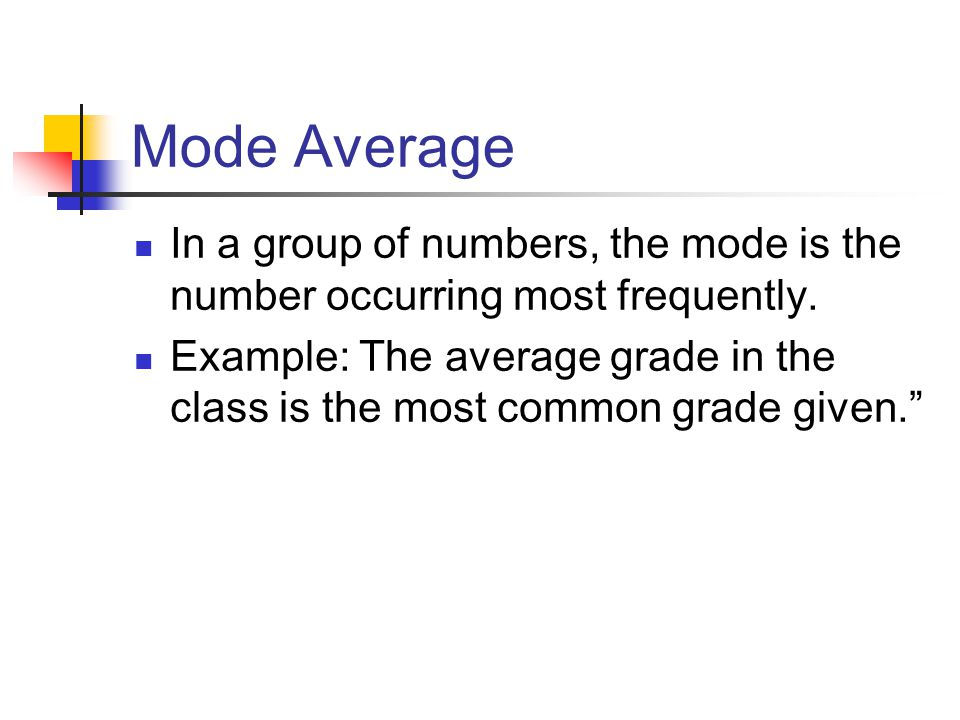 Mode Average In a group of numbers, the mode is the number occurring most frequently.