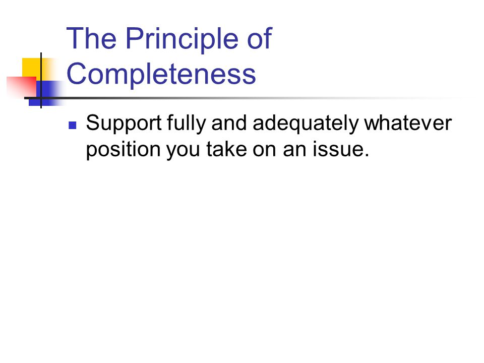 The Principle of Completeness