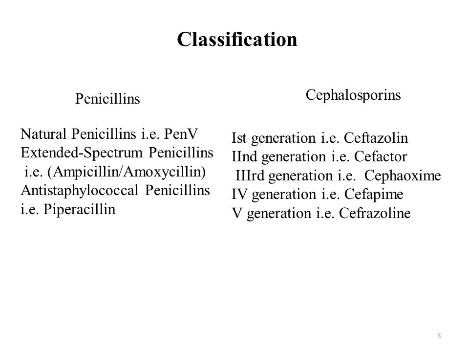 Classification Cephalosporins Penicillins