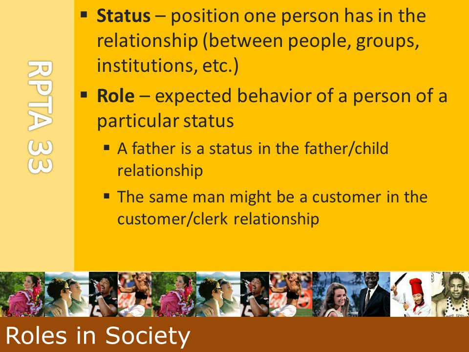 Status – position one person has in the relationship (between people, groups, institutions, etc.)