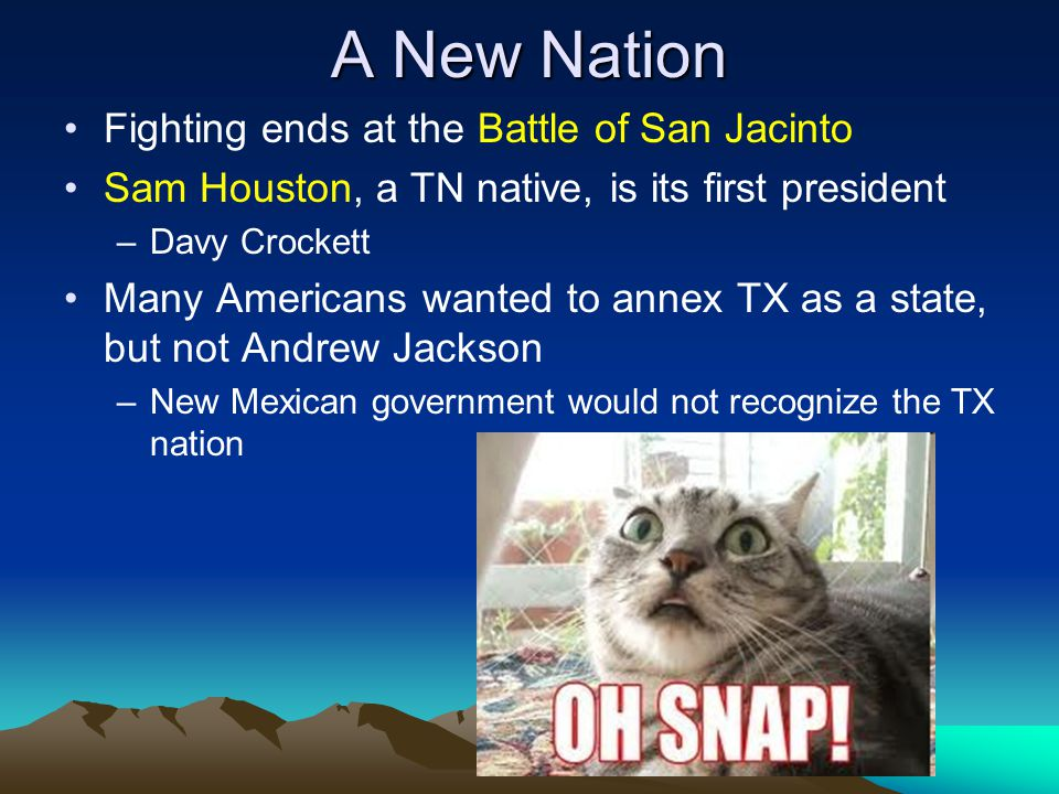 A New Nation Fighting ends at the Battle of San Jacinto