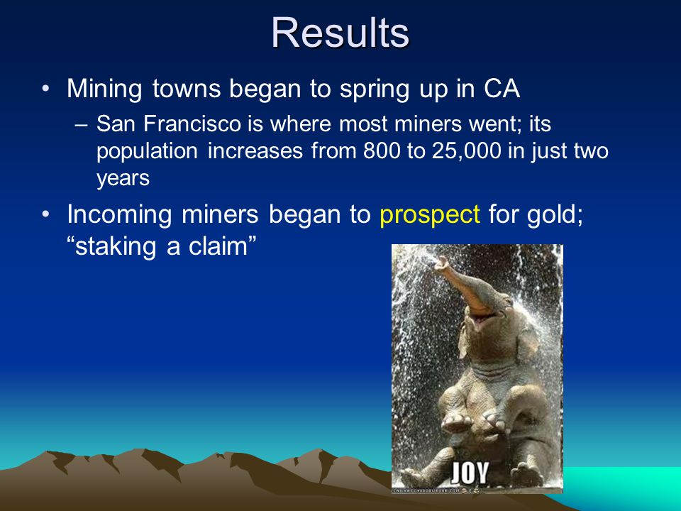 Results Mining towns began to spring up in CA