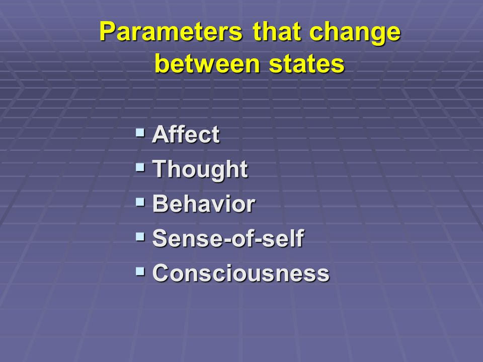 Parameters that change between states