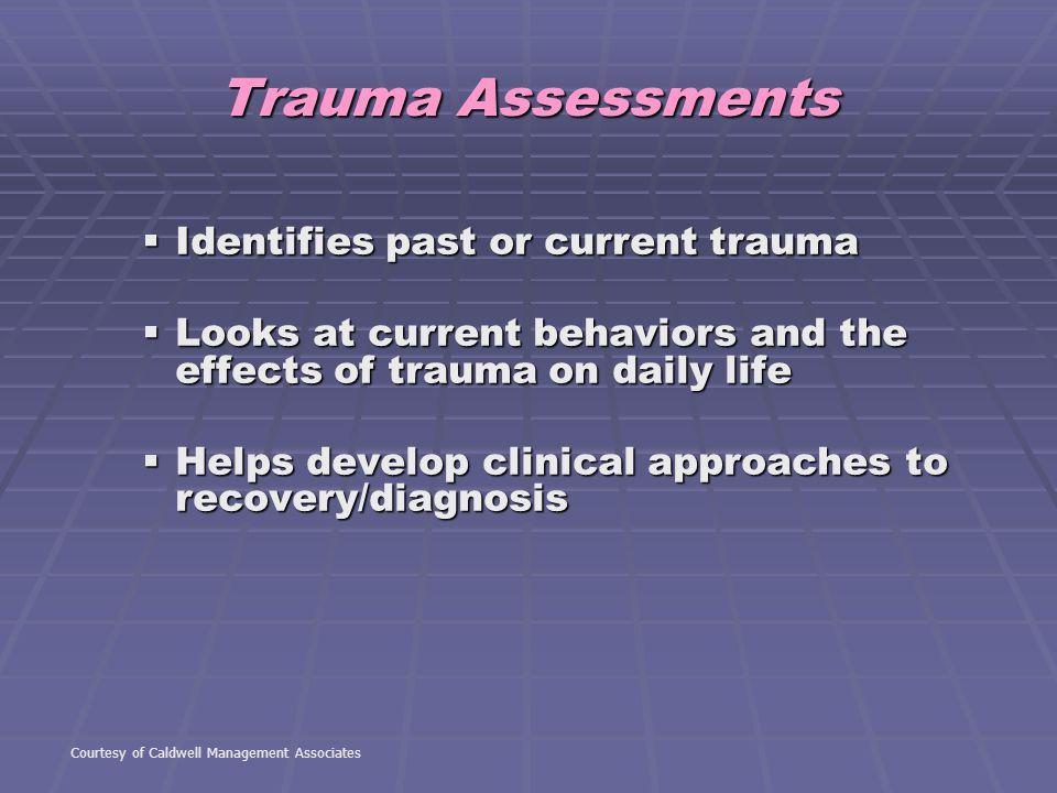 Trauma Assessments Identifies past or current trauma