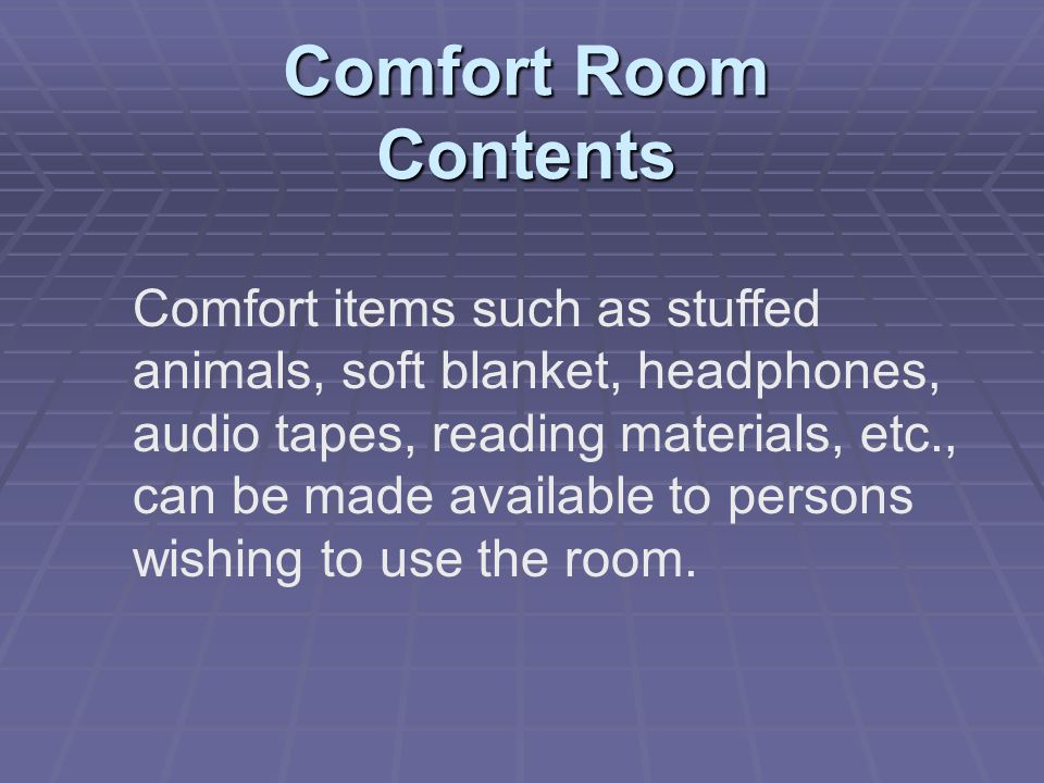 Comfort Room Contents