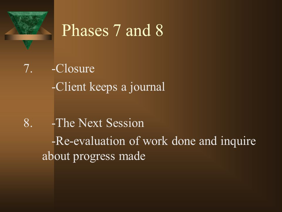 Phases 7 and 8 7. -Closure -Client keeps a journal