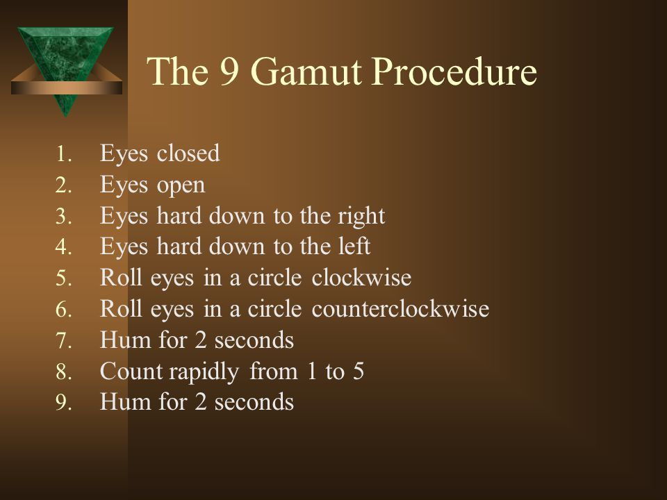 The 9 Gamut Procedure Eyes closed Eyes open