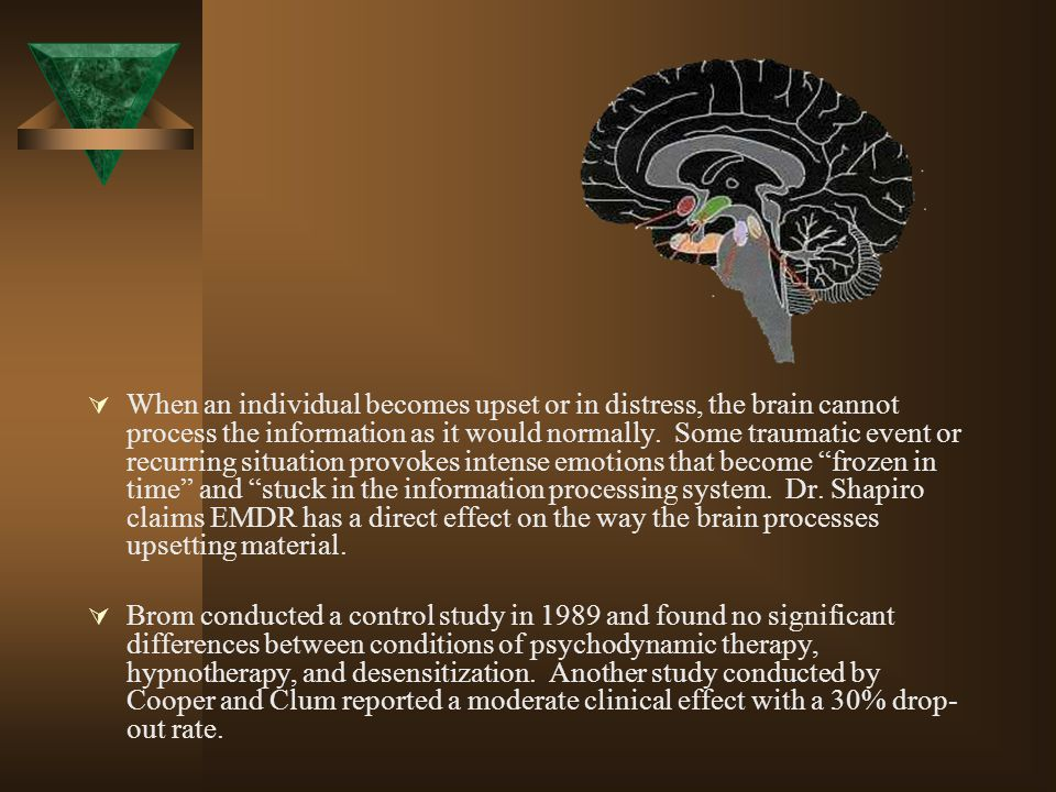 When an individual becomes upset or in distress, the brain cannot process the information as it would normally. Some traumatic event or recurring situation provokes intense emotions that become frozen in time and stuck in the information processing system. Dr. Shapiro claims EMDR has a direct effect on the way the brain processes upsetting material.