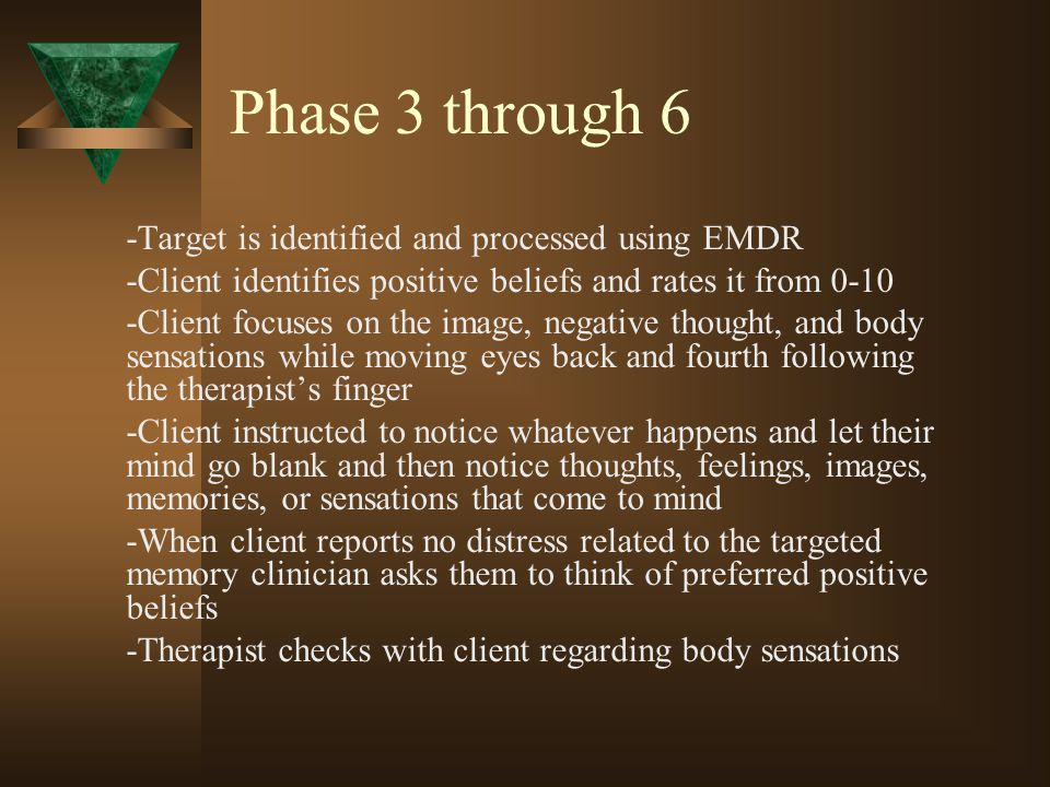 Phase 3 through 6 -Target is identified and processed using EMDR