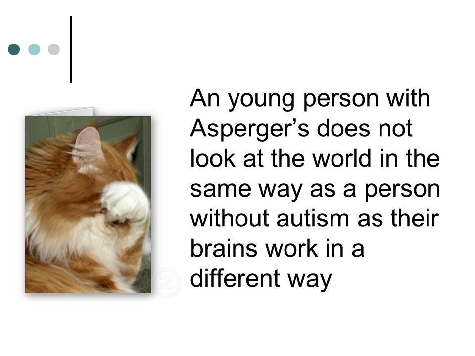 An young person with Asperger's does not look at the world in the same way as a person without autism as their brains work in a different way