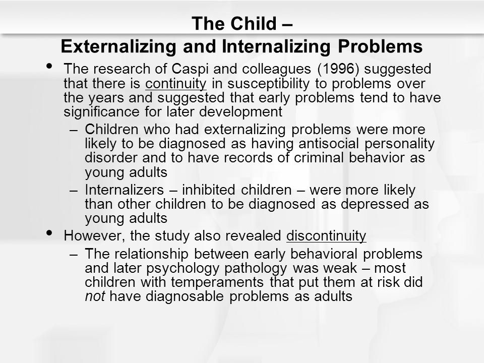 The Child – Externalizing and Internalizing Problems