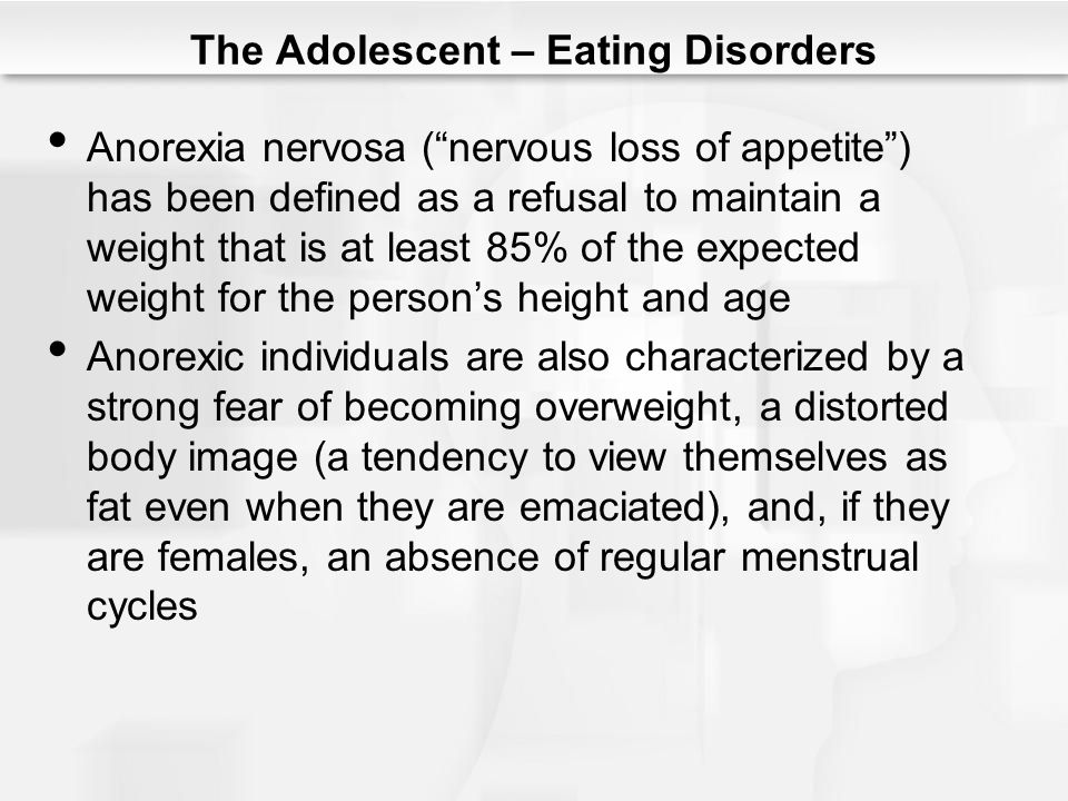 adolescent eating disorders 3 disorders association serves or has served as a consultant for the training institute for eating disorders in children and adolescents receives or has received.
