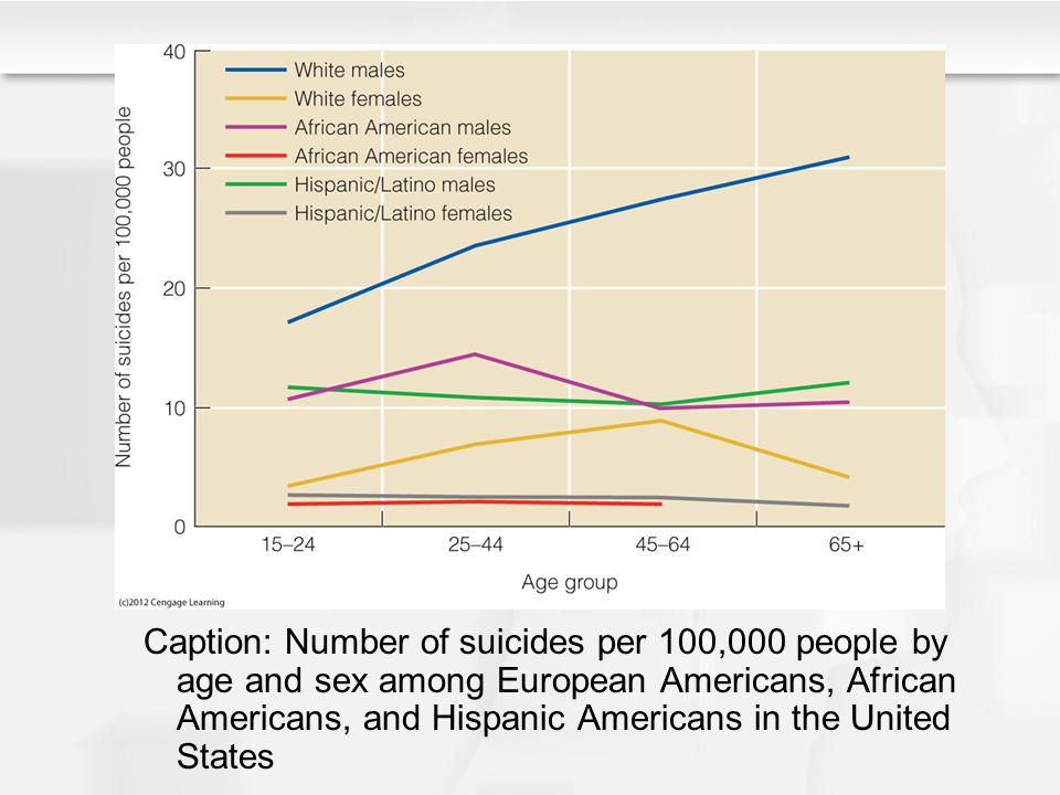 Caption: Number of suicides per 100,000 people by age and sex among European Americans, African Americans, and Hispanic Americans in the United States