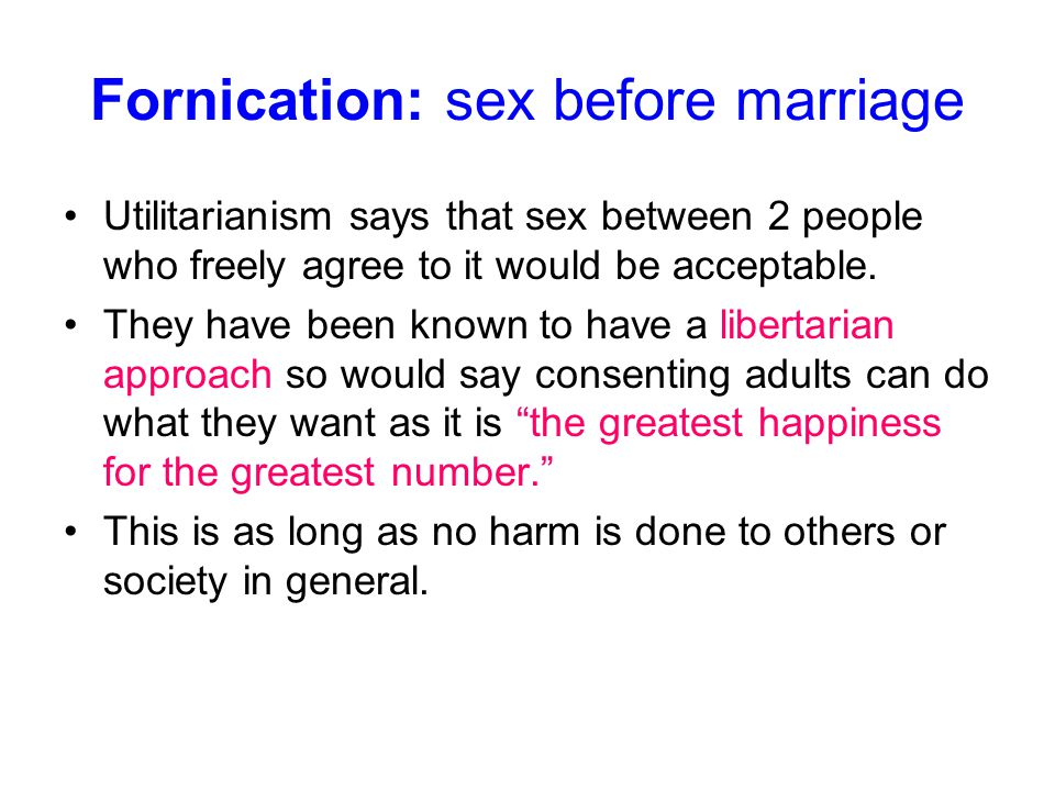 Fornication: sex before marriage