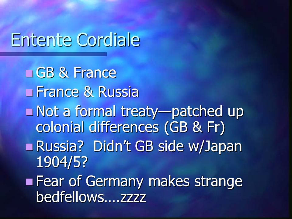 Entente Cordiale GB & France France & Russia