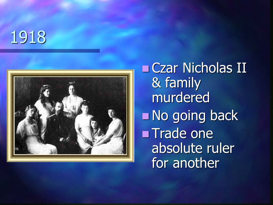 1918 Czar Nicholas II & family murdered No going back
