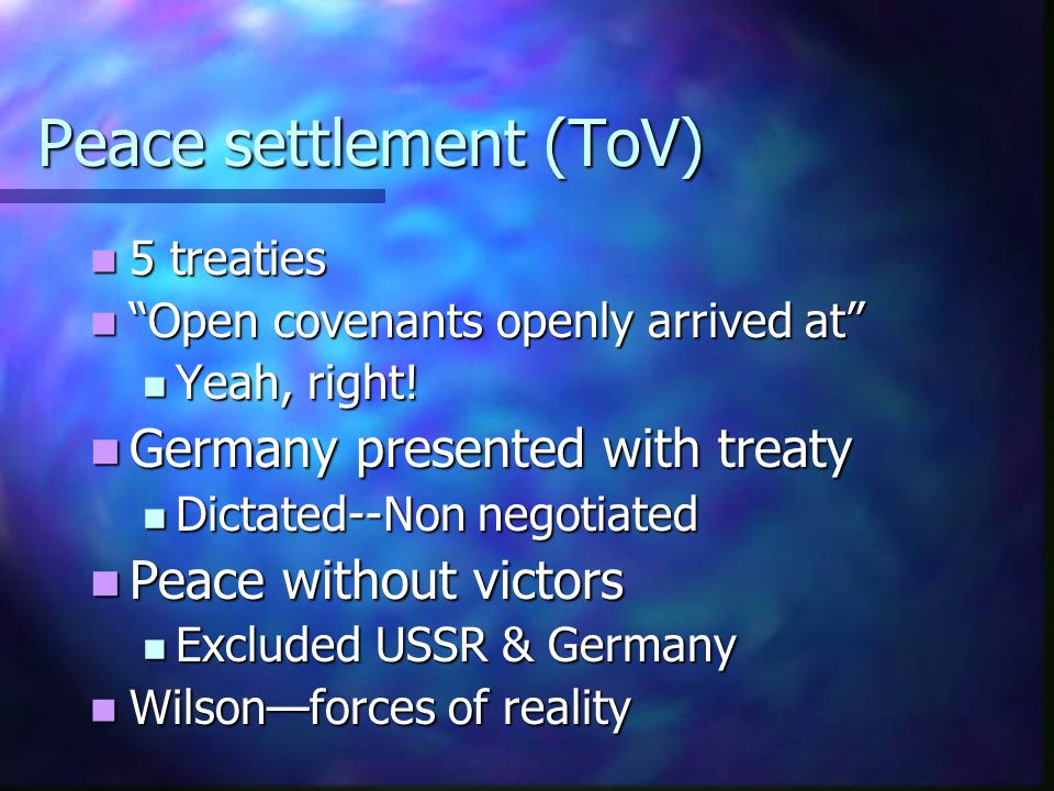 Peace settlement (ToV)
