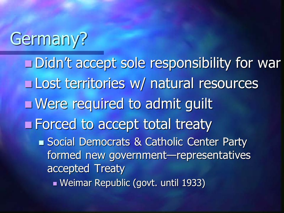 Germany Didn't accept sole responsibility for war