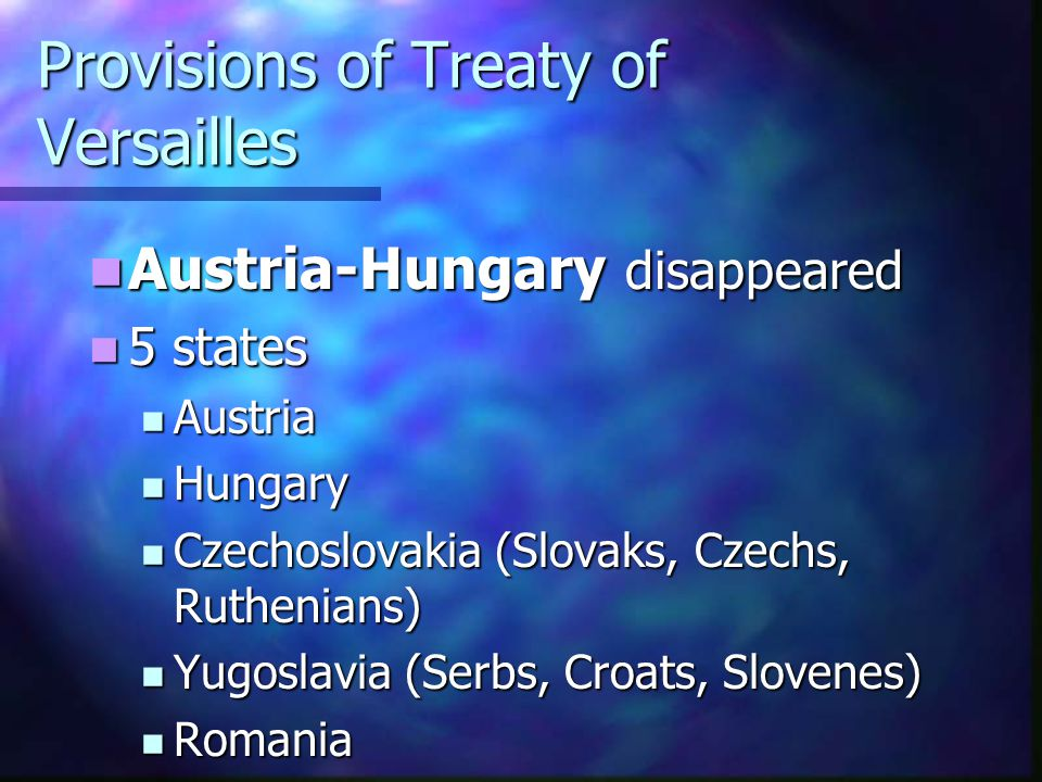 Provisions of Treaty of Versailles