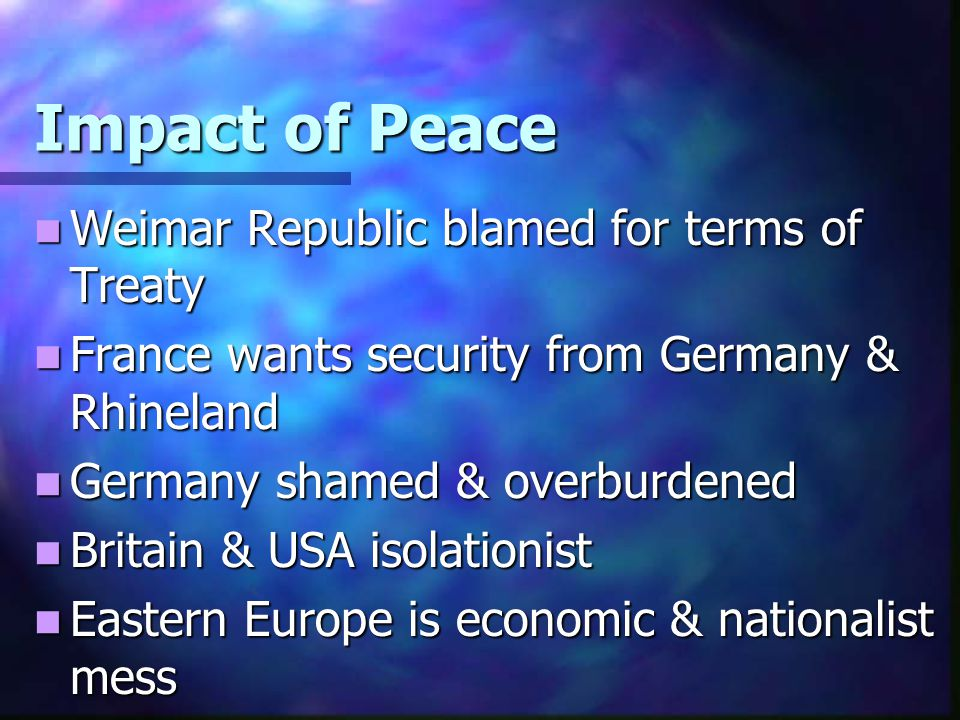Impact of Peace Weimar Republic blamed for terms of Treaty