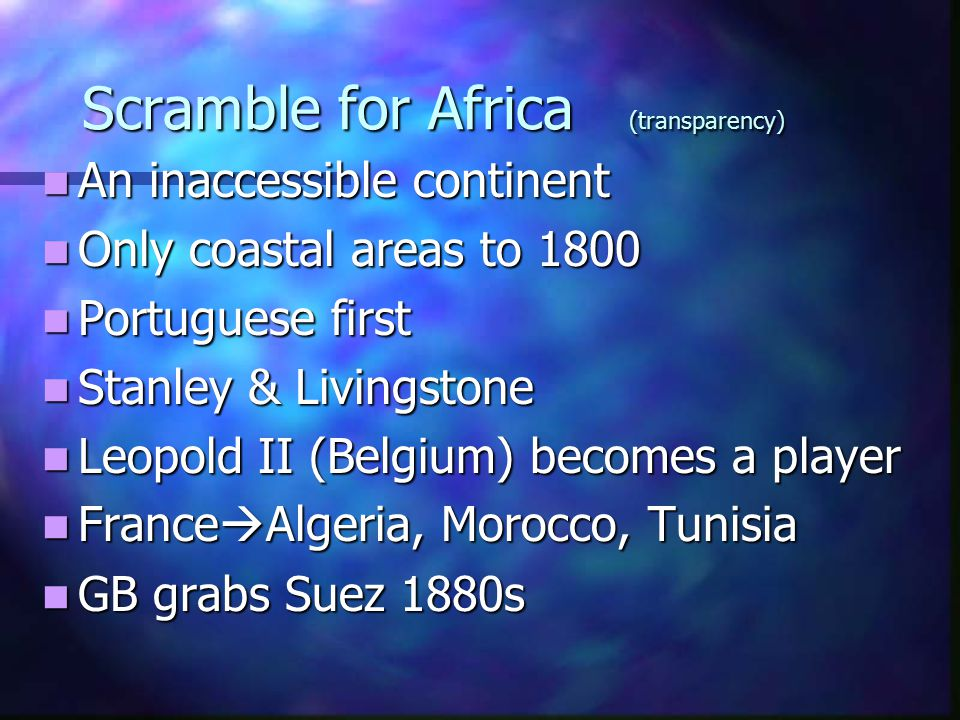 Scramble for Africa (transparency)