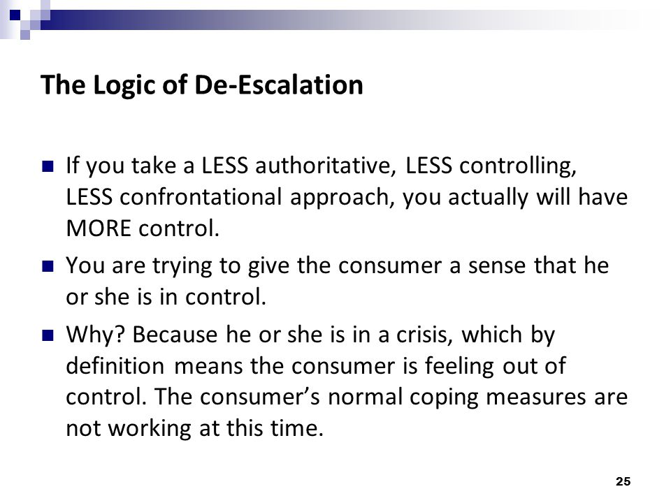 The Logic of De-Escalation