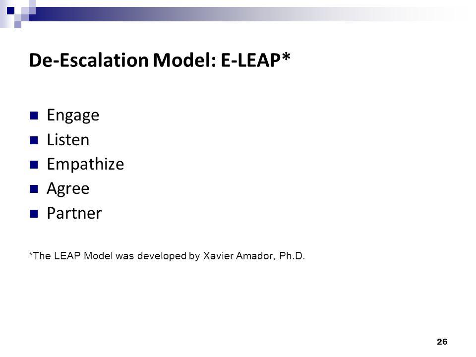 De-Escalation Model: E-LEAP*