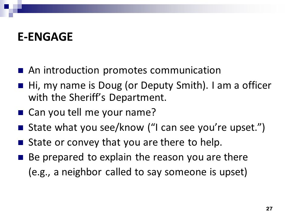 E-ENGAGE An introduction promotes communication