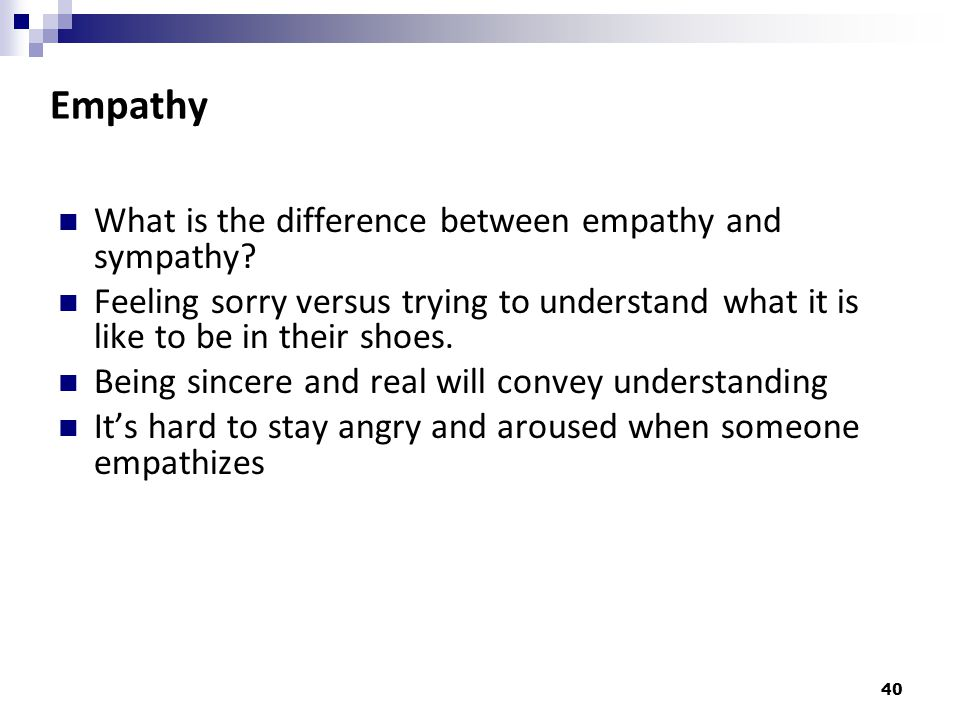 Empathy What is the difference between empathy and sympathy