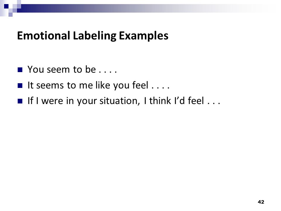 Emotional Labeling Examples