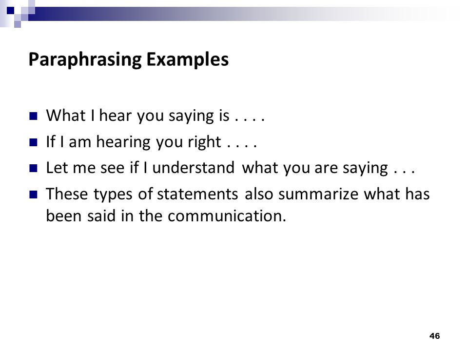 Paraphrasing Examples