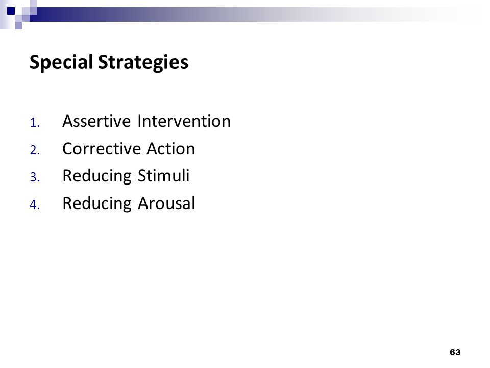 Special Strategies Assertive Intervention Corrective Action