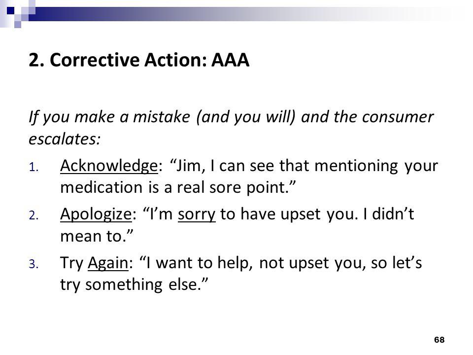 2. Corrective Action: AAA