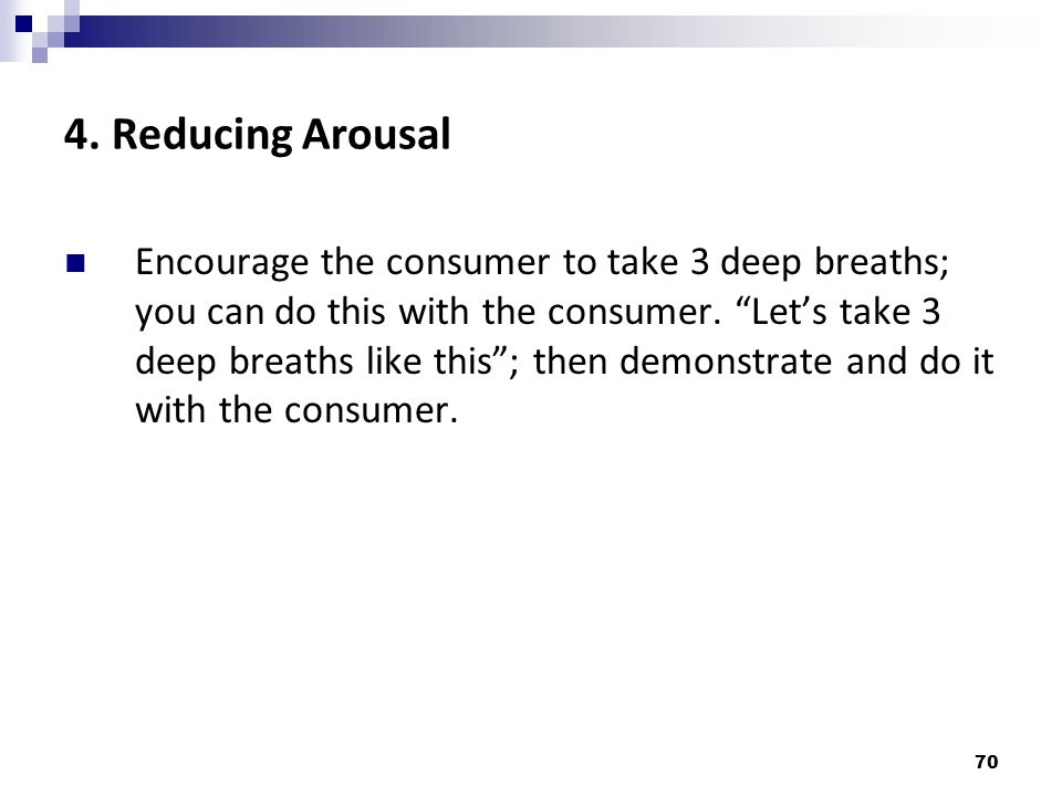 4. Reducing Arousal