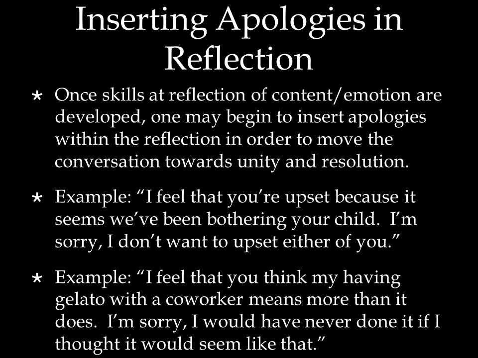 Inserting Apologies in Reflection