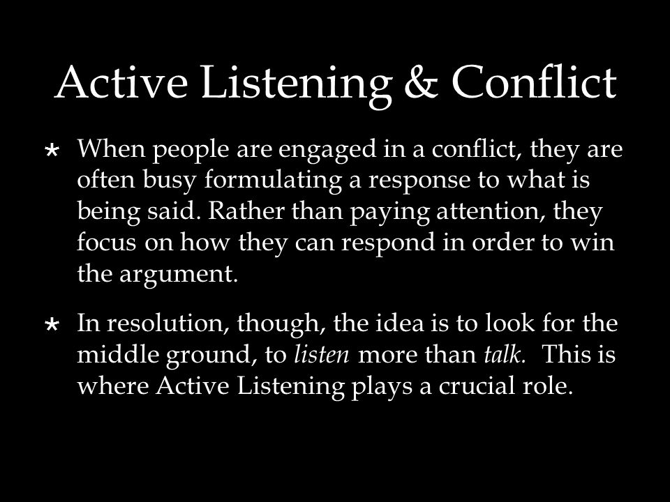 Active Listening & Conflict