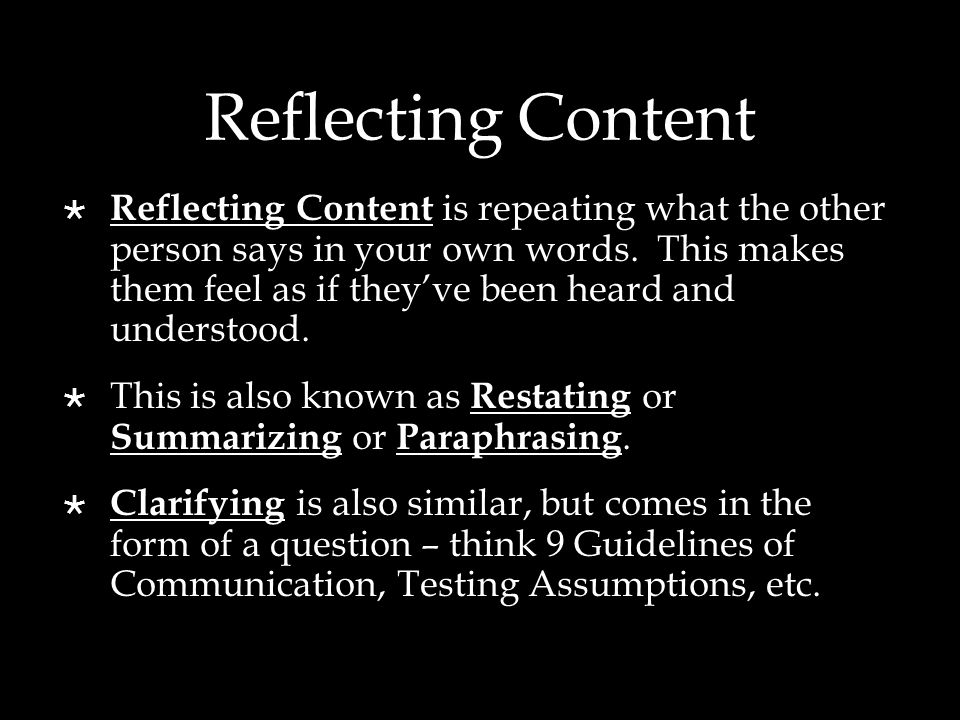 Reflecting Content